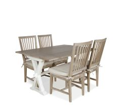 Hyannis 5-Piece Flip Top Dining Set with Terrace Gray Chairs