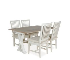 Hyannis 5-Piece Flip Top Dining Set with Washed Linen Chairs