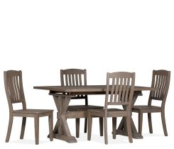 Regent 5-Piece Dining Set with Wood Seat Side Chairs and trumpet legs