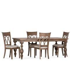 Farmhouse 5 Piece Dining Set w/ 4 Wood Side Chairs